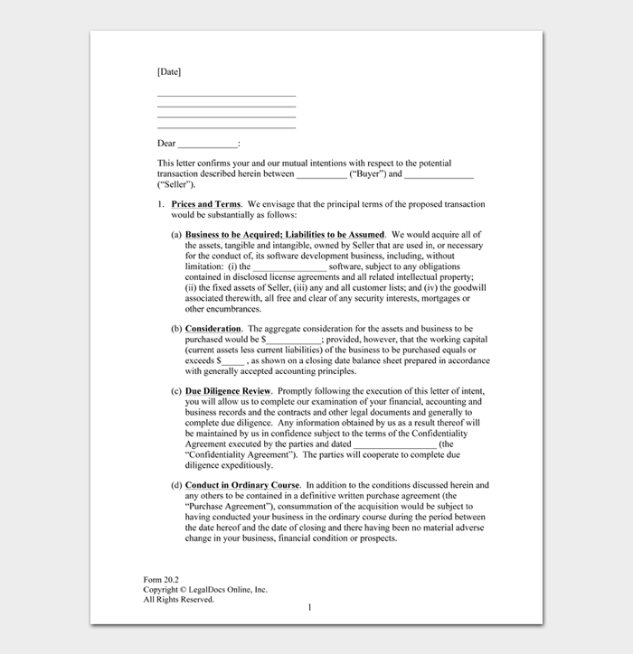 Formatting Letter Of Intent from images.docformats.com