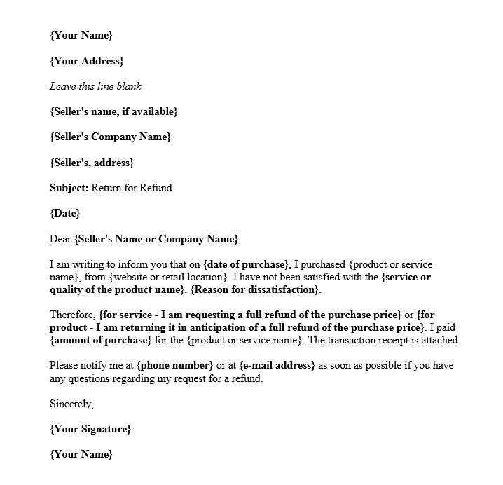 Refund Request Letter Sample from images.docformats.com
