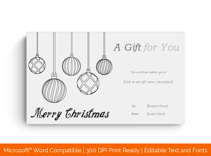 Black and White Christmas Gift Template in MS Word 4488