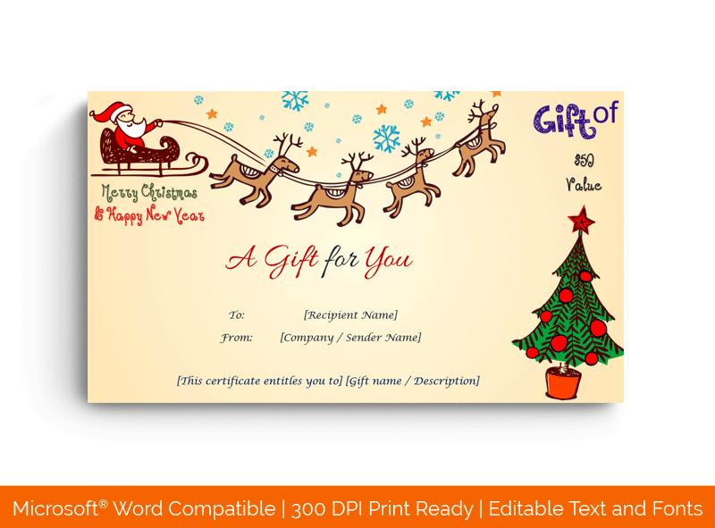 Blank Christmas Gift Certificate Flying Santa 1873