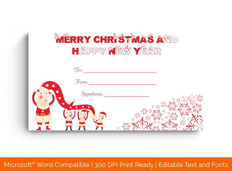 Blank Christmas Gift Certificate Template Santa 1871