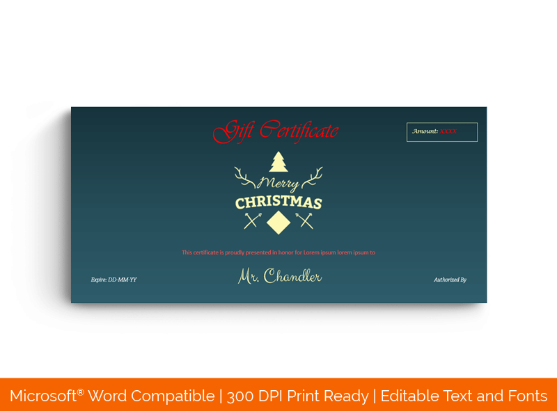 Blue Colored Christmas Gift Certificate Template Dark 88