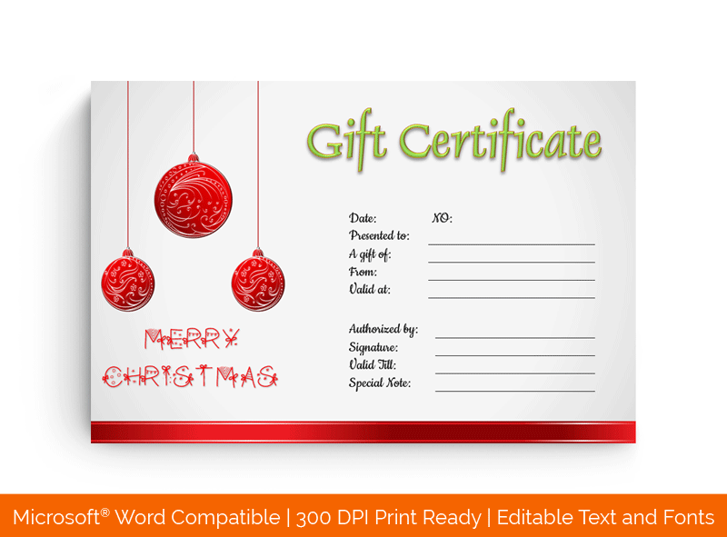 Christmas Baubles Gift Certificate Template in MS Word