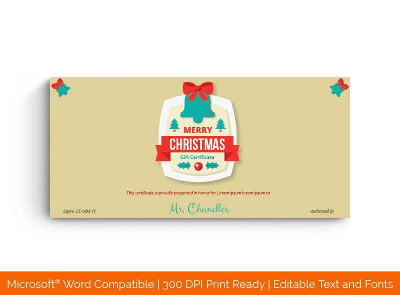 Christmas Bell Gift Certificate Template Word 998E