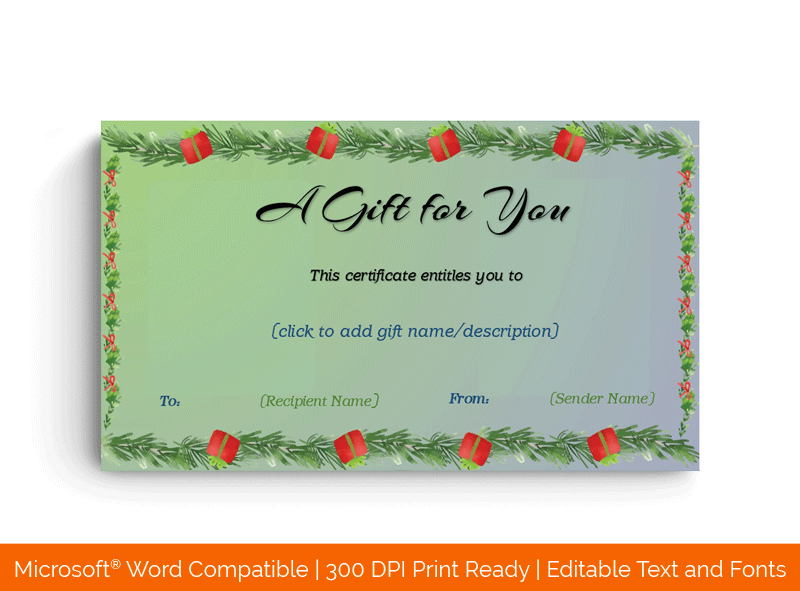 Christmas Bouquet and Happy New Year Certificate Template back side