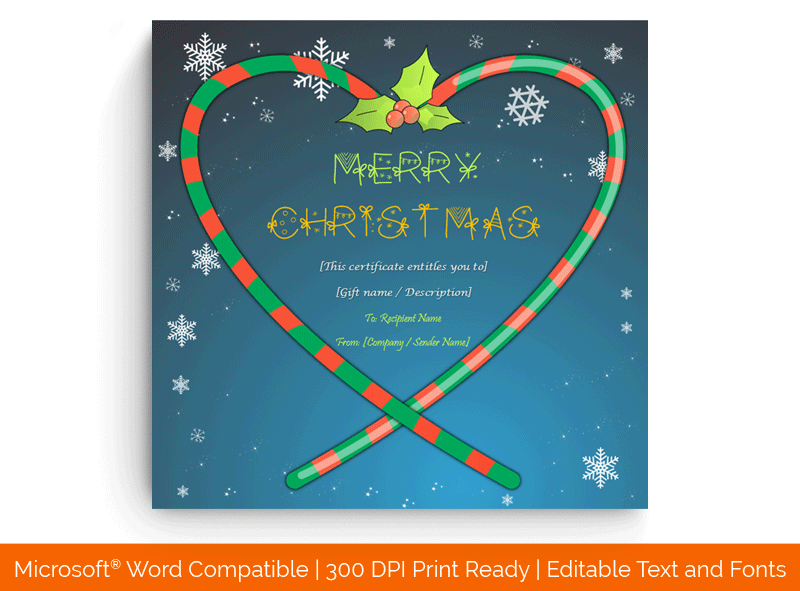 Christmas Candy Heart Gift Certificate Template 4589