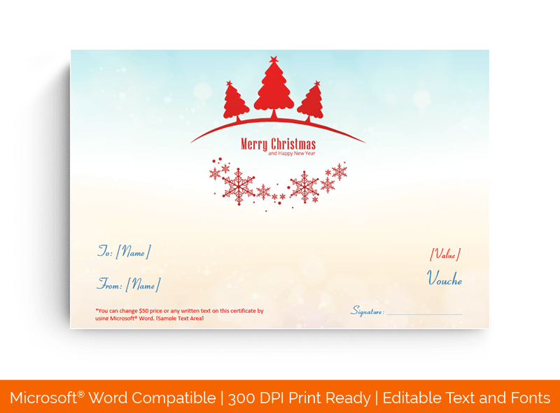 Christmas Celebration Gift Certificate Template Sky 775
