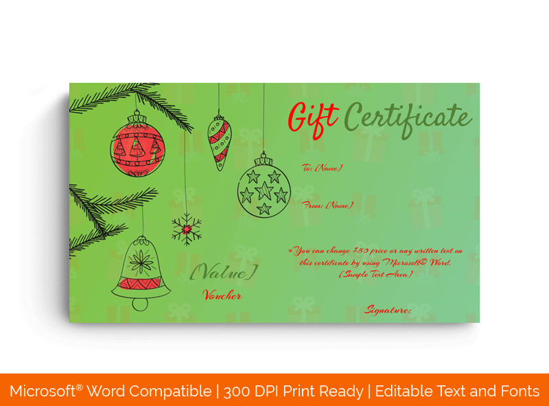 Christmas Decorations Gift Certificate in Word Green 85478