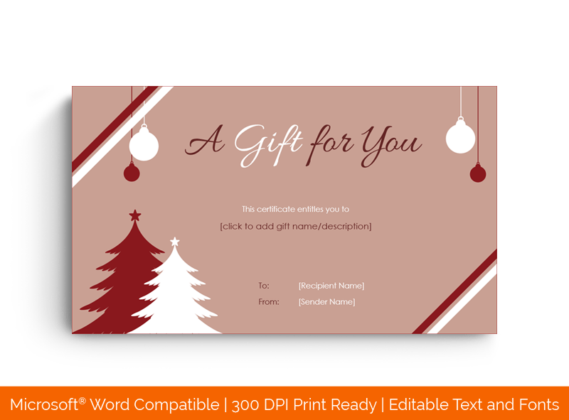 Christmas Festive Season Greetings Gift Certificate Red and White