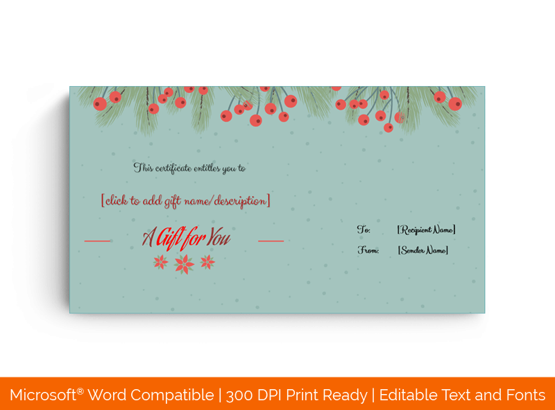 Christmas Fir Cherries Gift Certificate Template Green 99