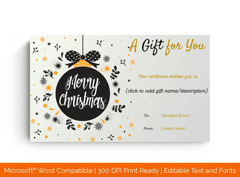 Christmas Gift Certificate Chic Ornament Template Ms Word 77