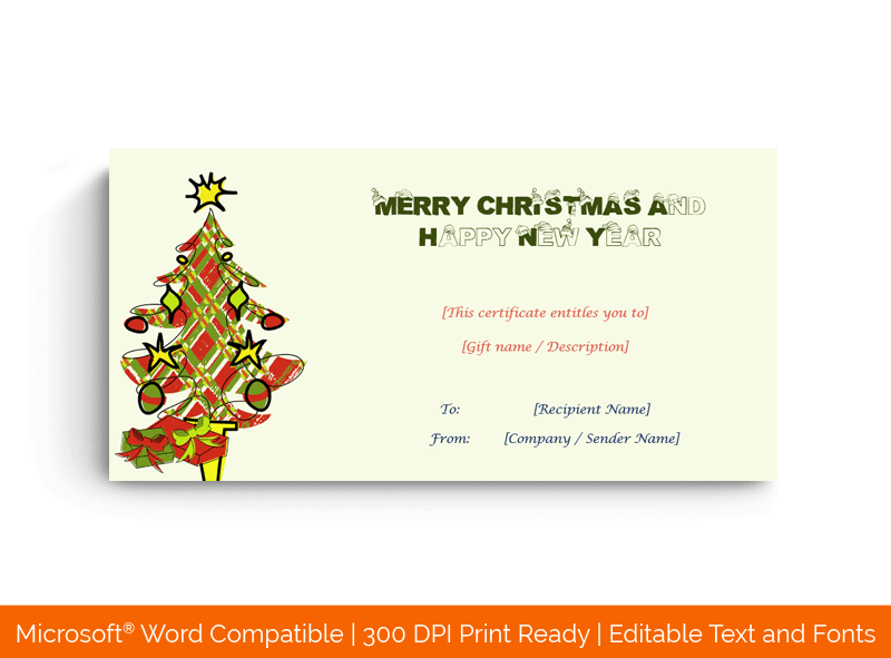 Christmas Gift Certificate Evergreen Conifer 189