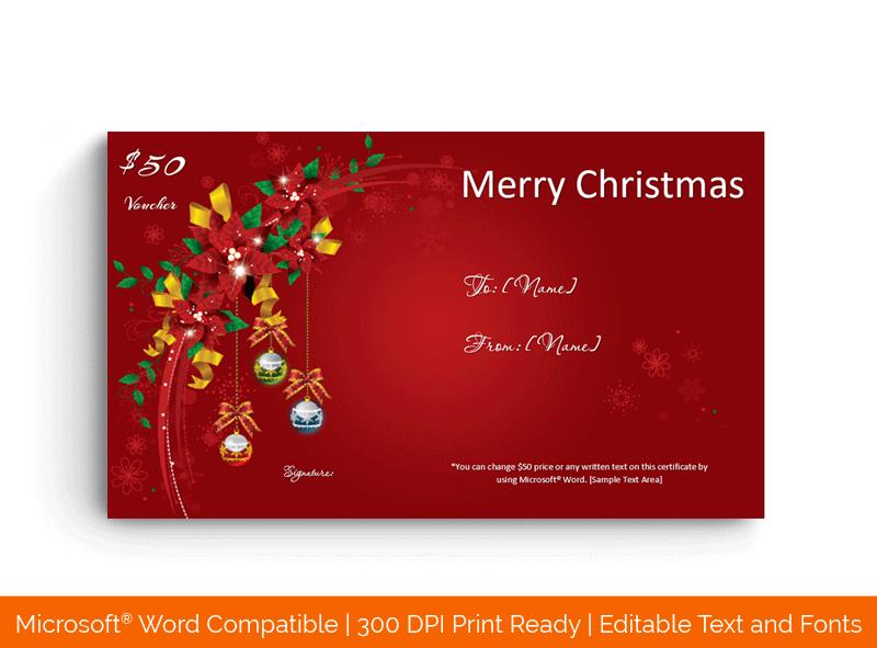 Christmas Gift Certificate Red BG 18517