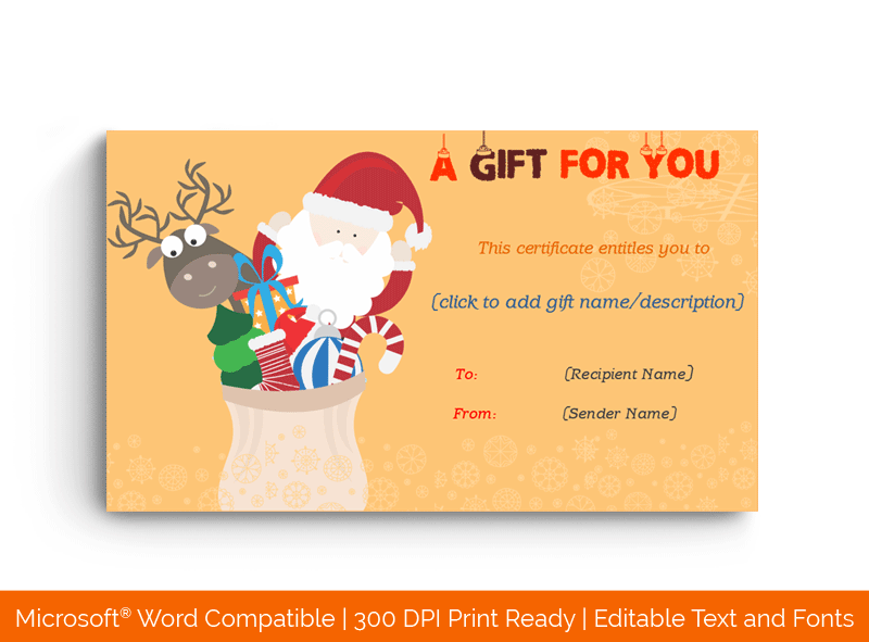 Christmas Gift Certificate Santa and Reindeer 18964