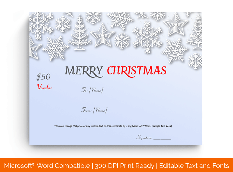 Christmas Gift Certificate Snow Flakes Border Word