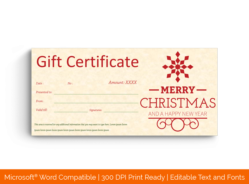 Christmas Gift Certificate Template Badge 18388