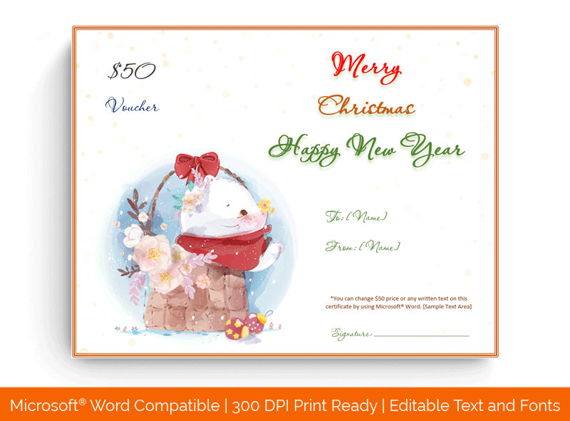 Christmas Gift Certificate Template Basket 1866