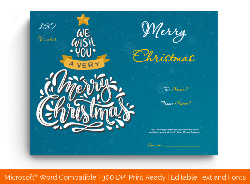 Christmas Gift Certificate Template Blue 1851