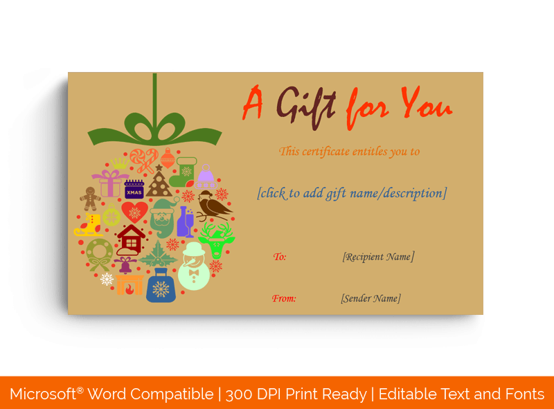Christmas Gift Certificate Template Brown18666