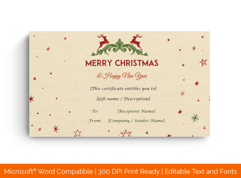 Christmas Gift Certificate Template Camel Texture 18468