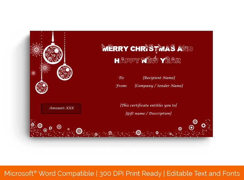 Christmas Gift Certificate Template Chandelier 18078