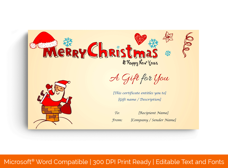Christmas Gift Certificate Template Cheery 1876
