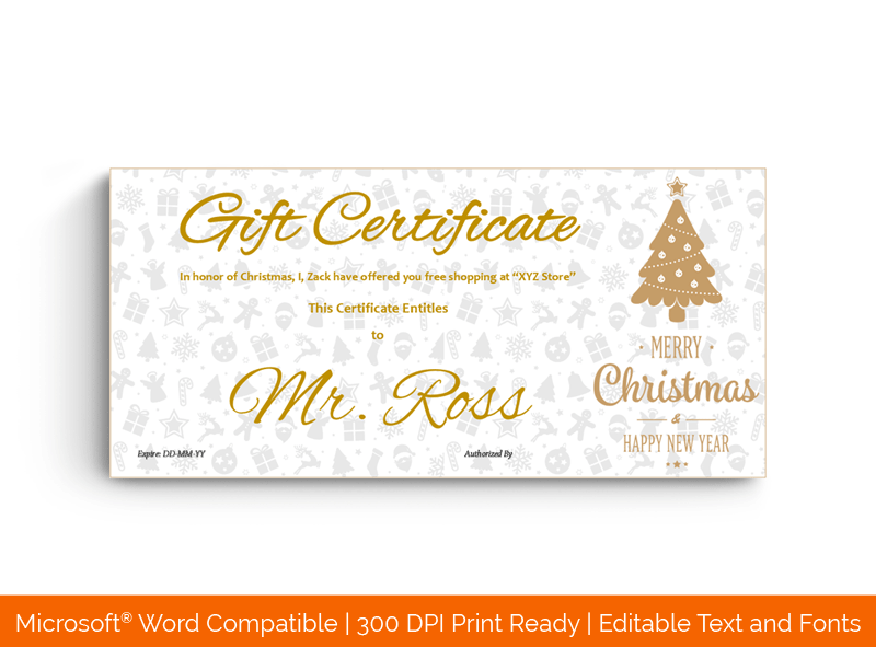 Christmas Gift Certificate Template Chocolate Tree 1827