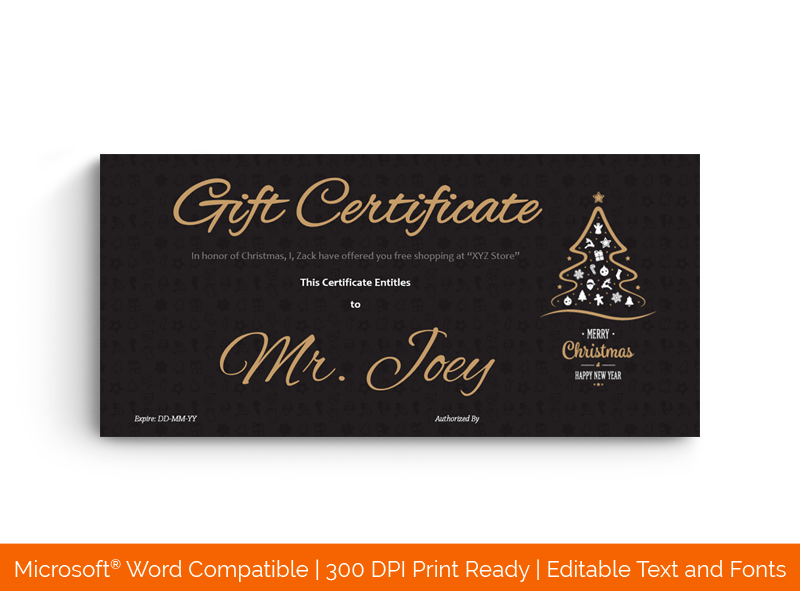 Christmas Gift Certificate Template Classic Black Tree 1828