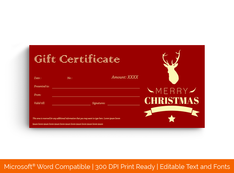 Christmas Gift Certificate Template Classic Red 18839
