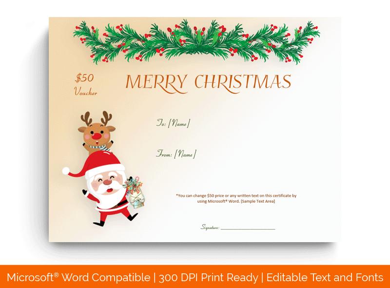 Christmas Gift Certificate Template Dancing Santa1862