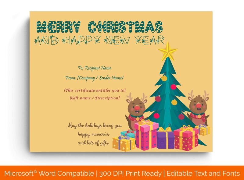 Christmas Gift Certificate Template Editable 1883