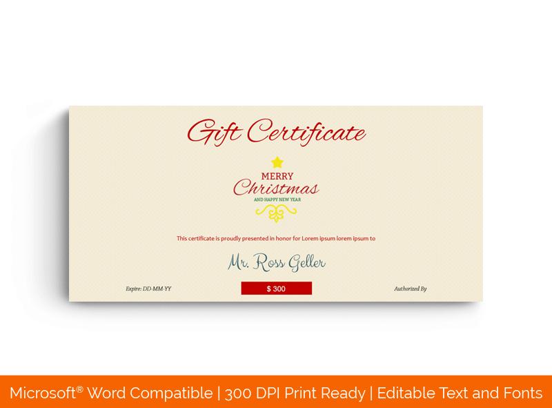 Christmas Gift Certificate Template Elegant 1830