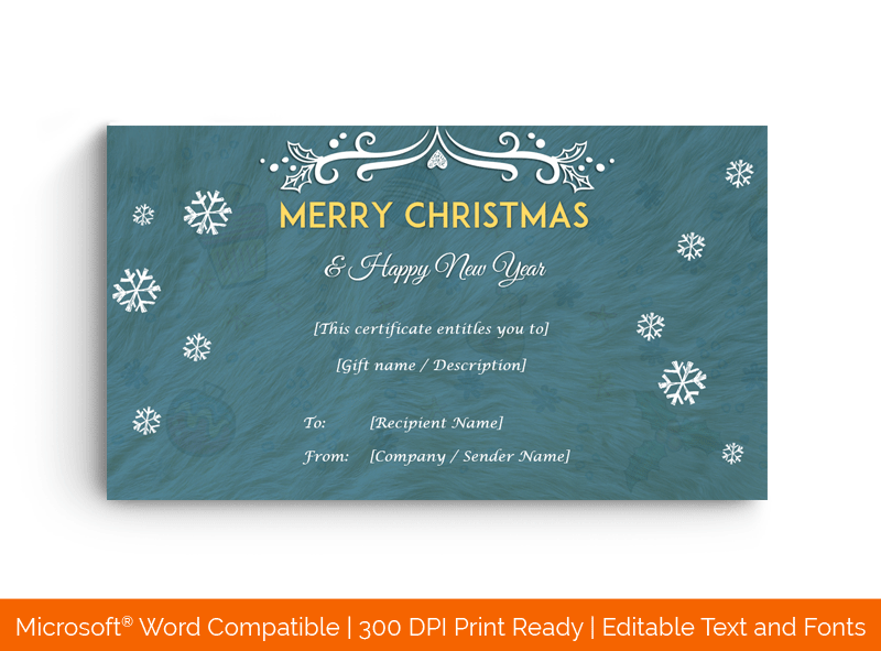 Christmas Gift Certificate Template Fluffy 1848