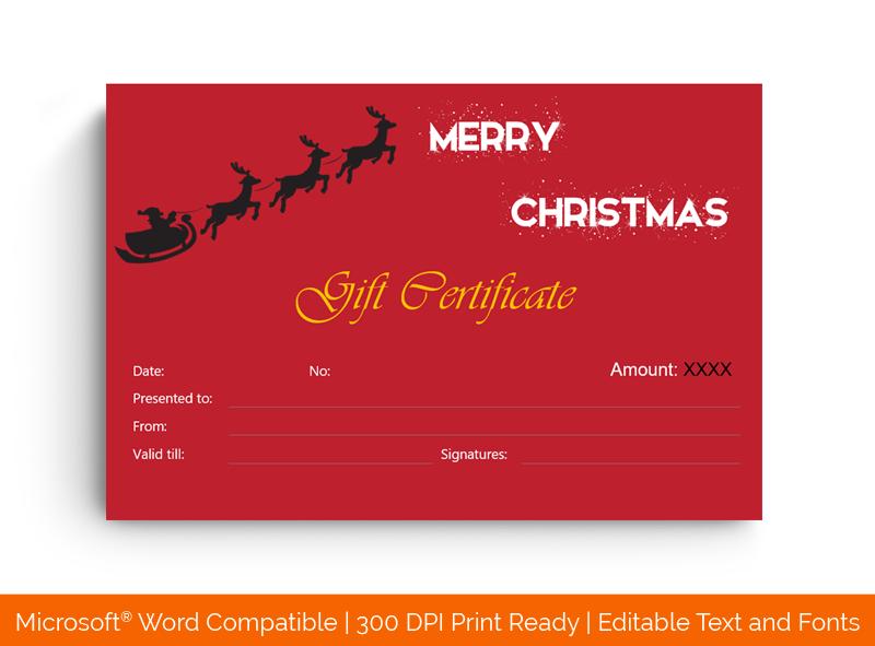 Christmas Gift Certificate Template Flying Santa 18