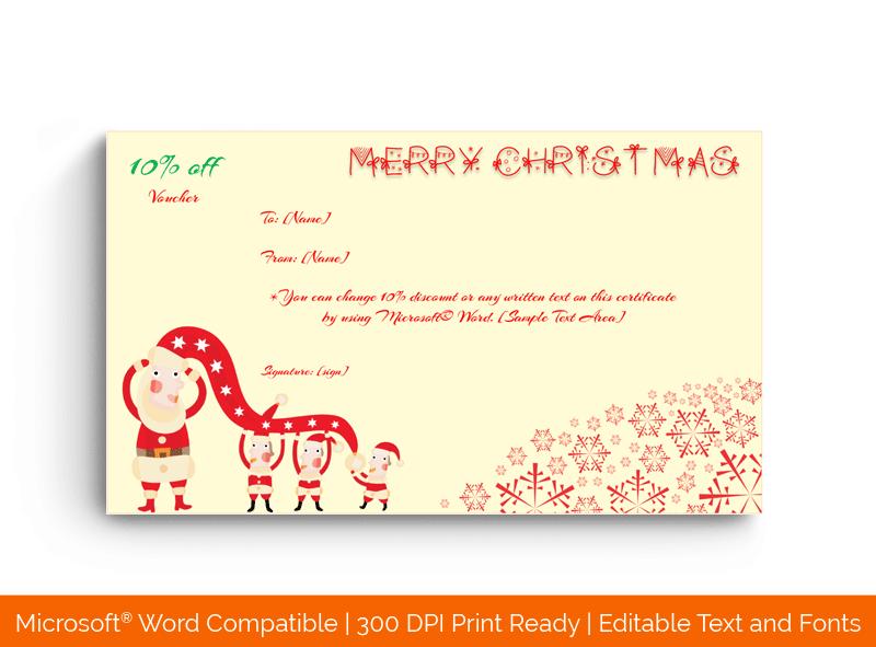 Christmas Gift Certificate Template Funky Santa 1871