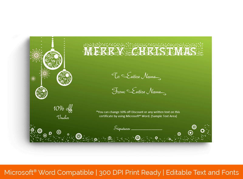 Christmas Gift Certificate Template Green 18690