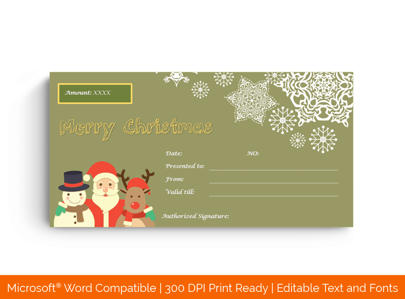 Christmas Gift Certificate Template Green 18868