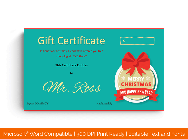 Christmas Gift Certificate Template Green Red 18835