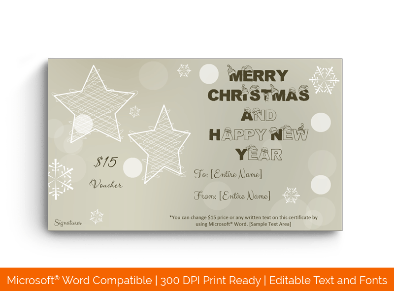 Christmas Gift Certificate Template Grey 1775