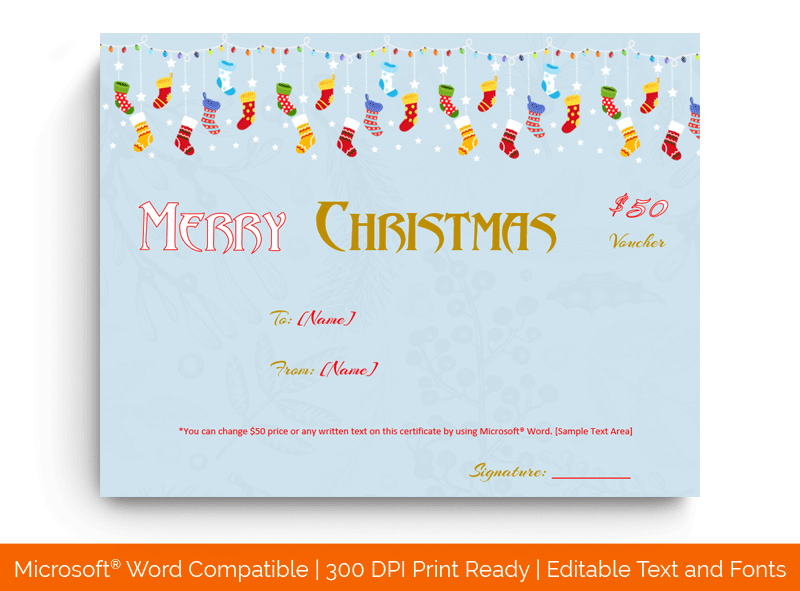 Christmas Gift Certificate Template Hanging jolly 1861