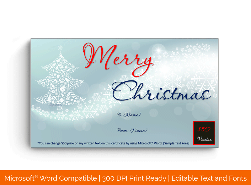 Christmas Gift Certificate Template Happy sky 1854
