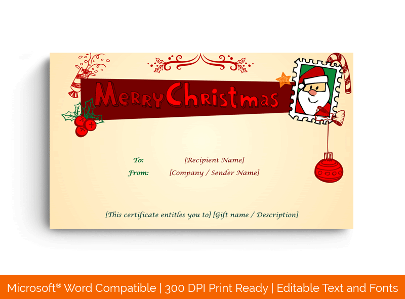 Christmas Gift Certificate Template Jolly 1864