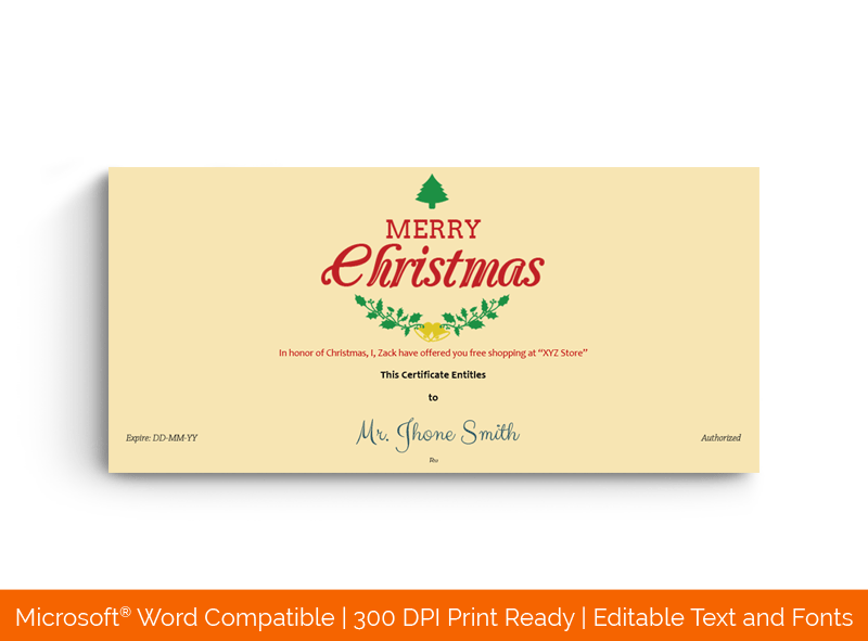 Christmas Gift Certificate Template Leaves 18333