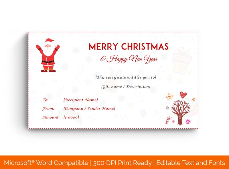 Christmas Gift Certificate Template Light Design 1851