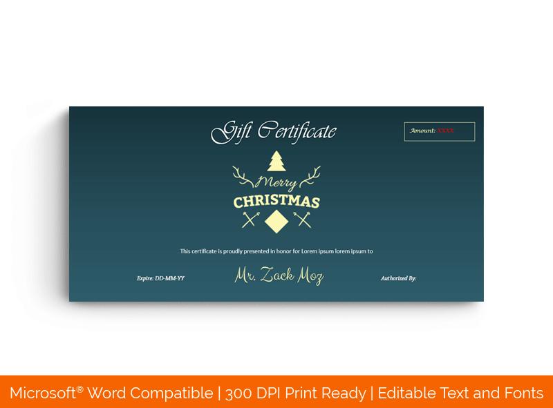 Christmas Gift Certificate Template Light Tree 1829