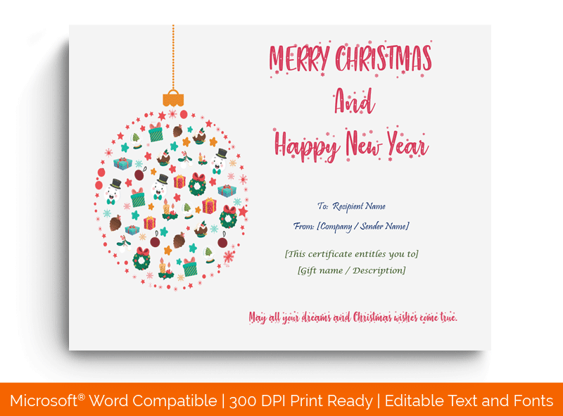 Christmas Gift Certificate Template Light in MS Word 1882