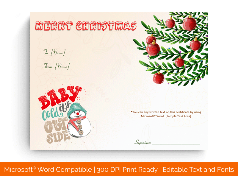 Christmas Gift Certificate Template Lights 1870