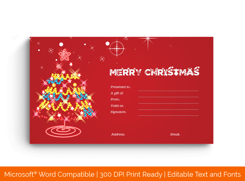 Christmas Gift Certificate Template Lights 187832
