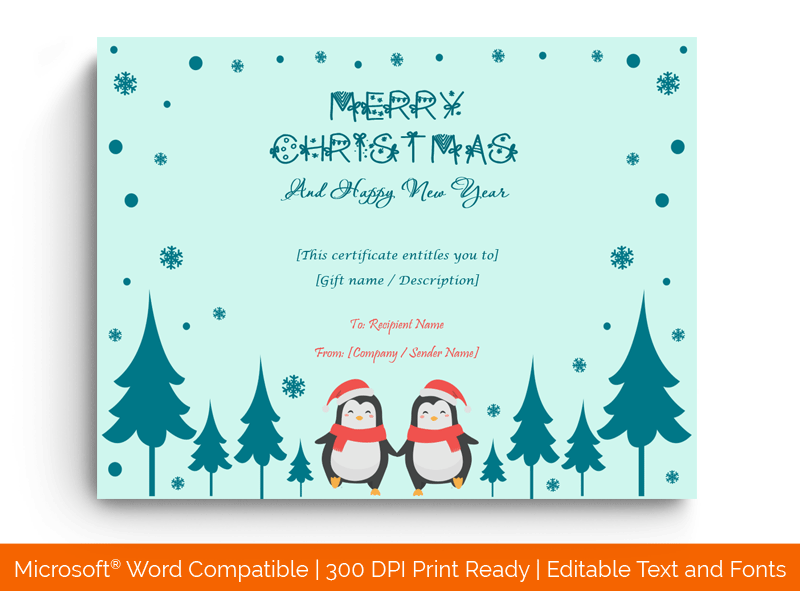 Christmas Gift Certificate Template MS Word 1881