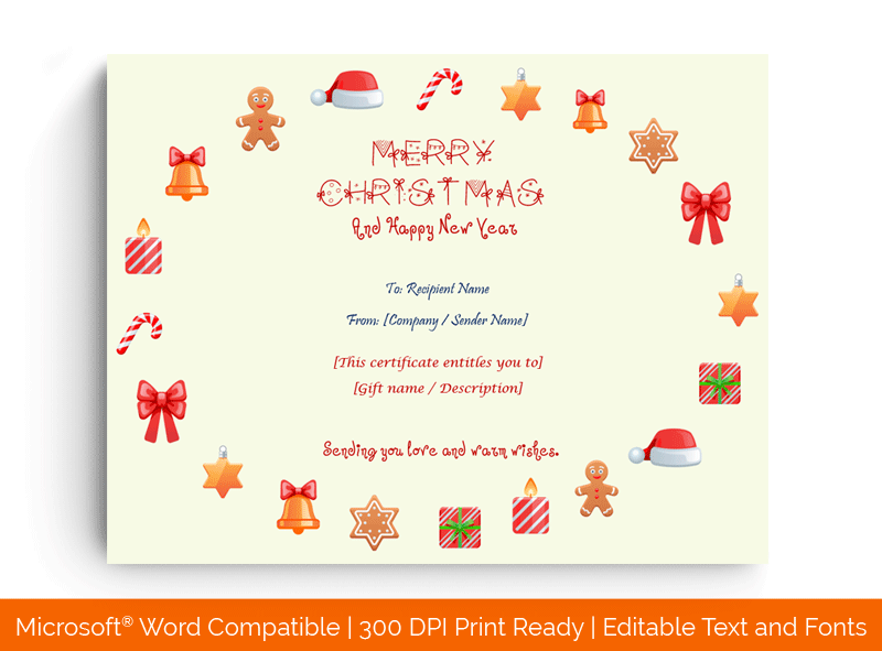 Christmas Gift Certificate Template MS Word 1889